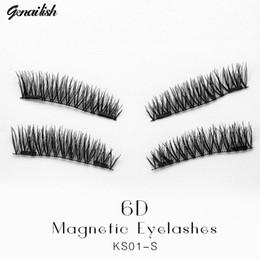 2e8bff007ed Genailish 6D magnetic eyelashes with double tiny magnets Natural False  Eyelashes Handmade Eye Lashes Extension KS01-SY