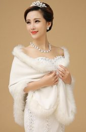 white stole fur bridal UK - New Long Ivory Faux Fur Shrug Cape Stole Wrap Wedding Bridal Special Occasion Shawl 2018 Cheap In Stock