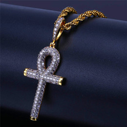 egyptian jewelry Canada - Egyptian Anhe Key Necklace Jewelry For Men 2018 New Fashion Cross Pendant Necklaces Mens Luxury Hiphop Jewelry Gold Plated