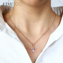 $enCountryForm.capitalKeyWord Australia - Fashion Crystal Cross Pendant Necklaces For Woman Elegant Rose Gold Color Long Chain Sweater Necklaces Custom Statement Jewelry
