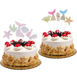 $enCountryForm.capitalKeyWord NZ - 2 style Mermaid Cake Toppers Flags Glitter Kids Birthday Ocean Cupcake Topper Wedding Baby Shower Party DIY Muslim Baking 20Sets