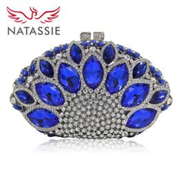 Vente en gros- NATASSIE Femmes Bleu Pochettes Dames Argent Sac De Soirée Partie Embrayages Sacs À Main De Mariage Femmes en Solde