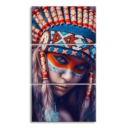Art Canvas Prints Australia - 3 pieces high-definition print American Indian canvas feathered painting poster and wall art living room picture RW-066