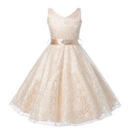 d20ebe0c91b2 Fashionable girl lace dress diamond belt princess evening dress party girl  dress