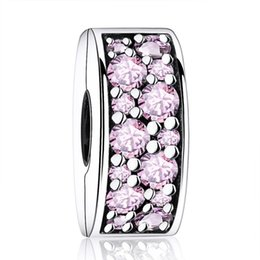 Shine Pink Canada - New Shining Elegance Pink Crystal Clip Authentic 925 Sterling Silver Jewelry DIY Beads Fit Charms Bracelets Women Sterling-Silver-Jewelry