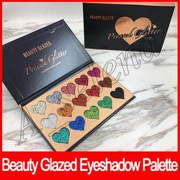 Silky eyeShadow online shopping - shape heart Beauty Glazed palette Colors Glitter Eyeshadow Palette Makeup Contour Metallic Silky Powder pressed glitter palette