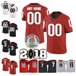 Wholesale Custom UGA Georgia Bulldogs College Football Sony Michel Justin Fields Roquan Smith Personalized Any Name Number Rose Bowl Jerseys