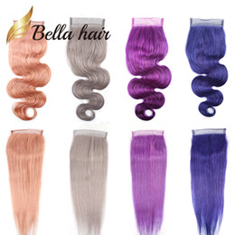 purple brazilian hair 2019 - Bella Hair® Colorful Lace Closure Human Hair 4*4 Pink Blue Purple Grey Red Blonde Colors Body Wave Straight Hair 10A Top