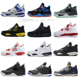 royal blue satin high shoes 2020 - High Quality 4 4s White Cement Pure Money Basketball Shoes Men Women Bred Royalty Game Royal Sports Sneakers With Shoes