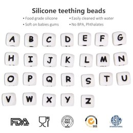 Alphabet Letter Toys NZ - 2000pcs 12mm Alphabet Letter Dice Beads BPA Free Silicone Chewing Teething Necklace Pacifier Clip Chain Baby Literacy toys