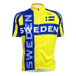 Custom logo name picture Sweden Flag Pattern Men Sleeve Bike Jerseys  Polyester Breathable Yellow Cycling jersey 109988a97