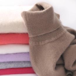Venta al por mayor de 2017 otoño invierno mujer suéter de cachemira de punto engrosamiento cuello alto tire femme mujeres suéteres y jerseys