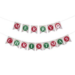 string decor UK - wholesale 15pcs Merry Christmas Banner Sign Bunting Vintage Garland party Decor with String