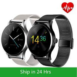 Металл SmartWatch фитнес-трекер монитор сердечного ритма совместимый Android IOS телефон удаленной камеры круглый супер тонкий водонепроницаемый K88H смарт-часы на Распродаже