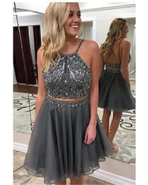 $enCountryForm.capitalKeyWord NZ - Silver Two Pieces Short Prom Dresses Halter Top Crystal Beaded Sequins Backless Piping Homecoming Dress Cocktail Graduation Dress Cheap