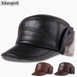 Genuine Leather Cap NZ - XdanqinX Winter Men's Cap Genuine Leather Hat Plus Velvet Thick Warm Baseball Cap With Earmuffs Cowhide Leather Warm Hat For Men
