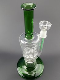Double Perc Oil Rig Australia - Green Double Recycle Glass Bong 10.5 Inch Honey Comb Perc Recycler Oil Rig Wax Water Pipe Heady Klein Bong Dab Perc Bubbler Beaker