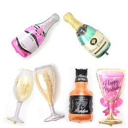 anniversary party decorations UK - hot sale large Wine Glass And Champagne Foil Balloons For Wedding Birthday Party Anniversary Decorations wholesale