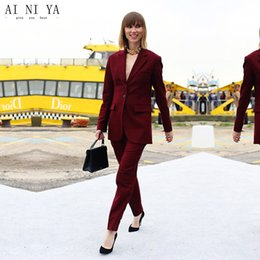 $enCountryForm.capitalKeyWord Australia - Jacket Pants Burgundy Women Business Suits Single Breasted Female Office Uniform Elegant Pant Suits Ladies Trouser Suit Custom