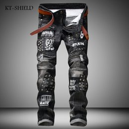 03dd6a3d26d9e Fashion printed Punk Mens Skinny Jeans Ripped Biker Hip Hop full length Casual  trousers Masculina Pantalones Vaqueros Hombre