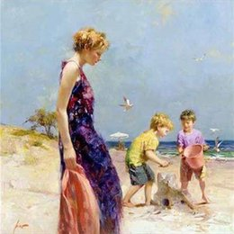 "beach portrait UK - "" Pino Daeni Mother daughter at the beach "" Pure Hand-painted Portrait Art Oil Painting On Thick Canvas Wall Decoration Multi sizes,FP63#"