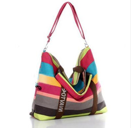 Stripe canvaS tote beach bagS online shopping - Summer Retro Canvas Messenger Bag Women Shoulder Bags Ladies Beach Bag Stripe Tote Shopping Purse Bolsa Femininas Large Handbags