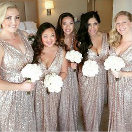 Wedding royal online shopping - Custom Long Bridesmaid Dresses V neck Sleeveless Champagne Sequined Bling Bling Garden Wedding Guest Evening Party Gowns