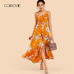 e7ba459ed4 wholesale Ginger Ruffle Floral Split Maxi Dress 2018 New Beach Sexy Criss  Cross Summer Dress Vacation Split A Line Women Dress