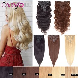 clip malaysian hair extensions 2019 - Onlyouhair® 8pcs Clip in Hair Extensions 1b 613 14-24inch Full Head Brazilian Peruvian Body Wave Straight Remy Human Hai