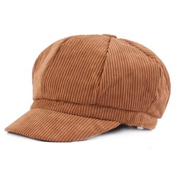 8a09b11c Fashion Hats for Women Corduroy Newsboy Cap Solid Autumn Winter Female  Beret Octagonal Casquette Ladies