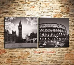 Big Ben Paintings Australia - Big Ben and Colosseum , Canvas Pieces Home Decor HD Printed Modern Art Painting on Canvas (Unframed Framed)