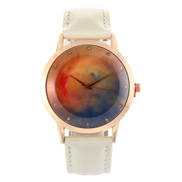 Wholesale YOYO Women s Fashion Casual Quartz Watch cute Leather Band Rainbow colored sky pink clouds color marble pattern Analog WristWatches