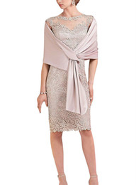 China Noble Sheath Pink Lace Short Mother Formal Wear With Wrap Mother of groom Wedding Guest Dress Evening Mother Of The Bride Dress Suit Gowns cheap modern groom suits blue suppliers