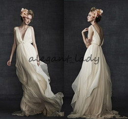 Greek Goddess lonG dress online shopping - Grecian Greek Goddess Beach Wedding Dresses Retro Simple Chiffon Flowing Flare Full length Country Boho Bridal Wedding Dress