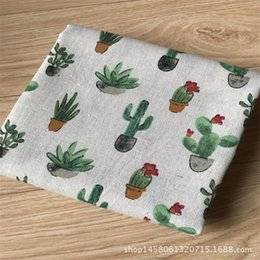 $enCountryForm.capitalKeyWord Canada - 50x150cm Cotton Linen Fabric DIY Craft Material Print Flowering Cactus Cacti For DIY Bags Table Cover Home Deco 8130a