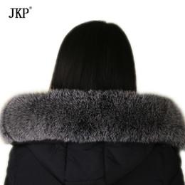Black Fur Scarves Australia - Winter Real fox fur collar Black frost color Genuine oversized fur collar Scarf
