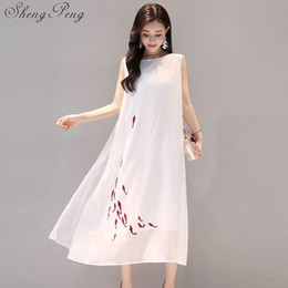 ladies cotton sundresses NZ - Chinese oriental dresses mandarin collar sleeveless long linen dresses summer elegant ladies white cotton sundress V007