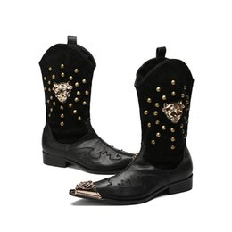 $enCountryForm.capitalKeyWord NZ - Leather Casual Carved Mens Cowboy Boots High Warm British Knight Boots Slip On Rivets Korean Point Iron Toe Mens Knee High Boots