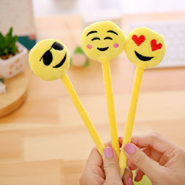 emoji stationery NZ - 20PCS set Cartoon Plush Ball Point Pen Emoji Emotion Ballpoint Pens Student Supplies Stationery Cute Pen for Birthday Present