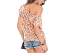 bat sleeve style tops Canada - 2018 Summer Womens t shirts sequined Tops Tees off shoulder bat sleeve T-shirt tshirt summer fashion Short sleeves styles pink