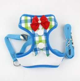 walking harnesses for large dogs NZ - Gentleman Bowtie Puppy Dog Harness Vest With Leash Mesh Small Dogs Cats Tuxedo Vests Walking Leash Set For Chihuahua Yorkie