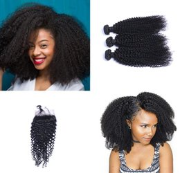 Hair extensions kinky curl online shopping - 8A Brazilian kinky Curl Hair Bundles with Closure Free Middle Part Double Weft Human Hair Extensions Dyeable Human Hair DHL Shipping