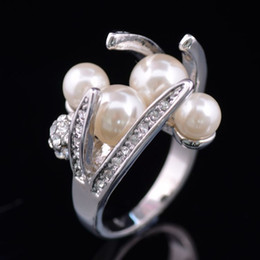 Pearl Day Canada - New arrival women fashion jewelry royal diamond alloy original pearl ring Love Valentine's day Christmas festival gift