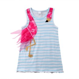32eaa8d0f Baby Girl Clothes Cute Kids Dress Striped Sleeveless Voile Flamingo Pattern  Pageant Party Dress Casual Sundress 2018 Boutique Baby Clothing