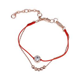 8ce5b7615691 2 capas de hilo fino cordón rojo cadena cuerda cuerda pulsera con cristales  de Swarovski joyería de moda para mujeres niñas 2018
