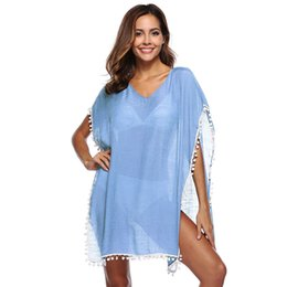 e863d837e3 2019 Summer Boho Cardigans Women Swimsuit Cover Up Sheer See Through V Neck  Tassel Fringe Loose Holiday Bikini Blouse Beachwear