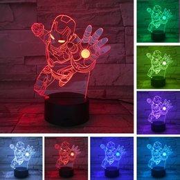 Neuheit Superheld Ironman Action Figure Farben Ändern LED 3D Nachtlampe lampada Kind Kind Jungen Tisch Schlafzimmer Schlafen Nachttischlampe Geschenke