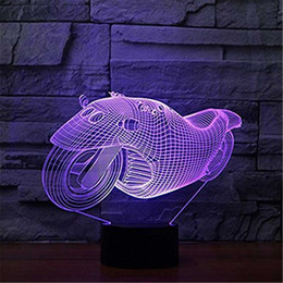 Ideas Decor NZ - 3D Glow LED Night Light Supermobile Inspiration 7 Colors Optical Illusion Lamp Touch Sensor for Home Party Festival Decor Great Gift Idea