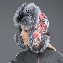 8bf442763aa Fur Hat for Women Natural Raccoon Fox Fur Russian Ushanka Hats Winter Thick  Warm Ears Fashion Bomber Cap Black New Arrival