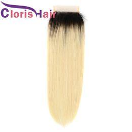 Discount hair human ombre blond - Dark Roots Blonde Lace Closure Silk Straight Mink Brazilian Peruvian Virgin Human Hair 4x4 Top Closure Ombre 1b 613 Blon